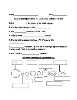 Solar System Worksheet by Bryan | Teachers Pay Teachers
