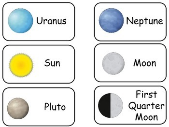 Solar System and Planets Picture Word Flash Cards