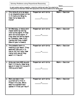 Solving Word Problems Using Proportional Reasoning By