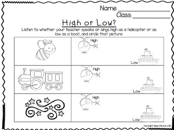 Songs And Activities To Teach High And Low By Aileen