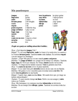 Mis Pasatiempos Lectura Spanish Reading And Worksheet