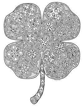 St Patrick S Day Four Leaf Clover Shamrock Zentangle Coloring Page 2