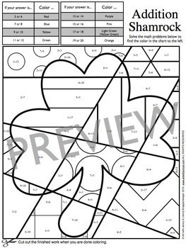 St Patrick S Day Math Fact Coloring Pages By Art With Jenny K Tpt