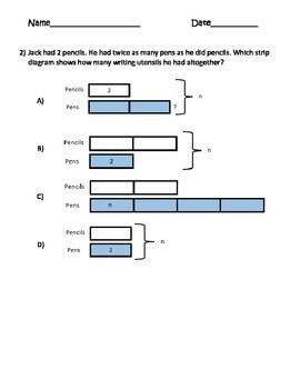 Strip Diagrams (Tape Diagrams) Test Prep MultiStep