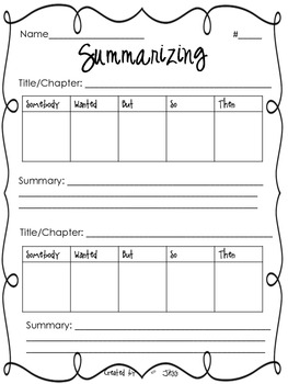 Summarizing Worksheet By Jessica Scott