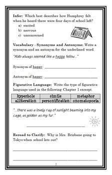 Summer According To Humphrey Betty G Birney Novel Study Comprehension