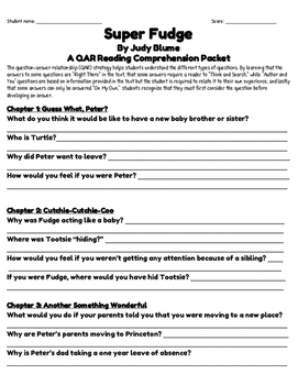 Superfudge Reading Comprehension Packet By The Glittery
