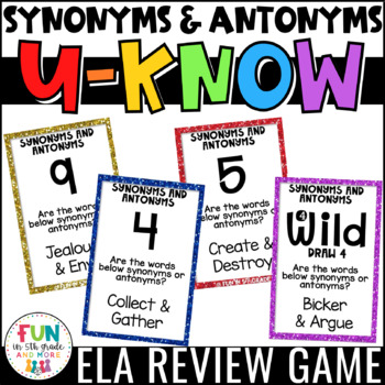 Synonyms and Antonyms Game for Literacy Centers: U-Know by ...