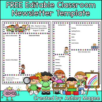 Classroom newsletter template free classroom newsletter. Free Editable Teacher Newsletter Template By Mrs Magee Tpt