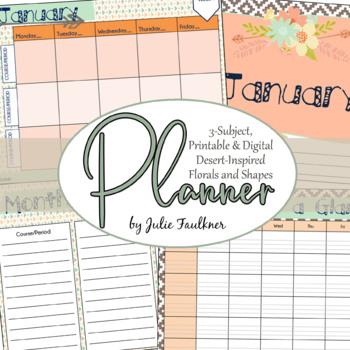 Teacher Binder Planner Calendar, Secondary Teacher with Mu