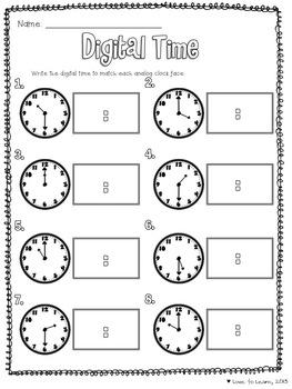 Image Result For Worksheet Digital Clock