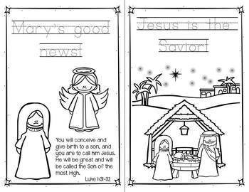 The Christmas Story Coloring Pages and Handwriting ... | christmas coloring pages  booklet