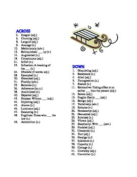 The Giver 50 Word Prereading Vocabulary Crossword Use