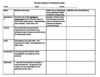 The Giver Vocabulary Matrix Chapters 1 4 L 4 Common Core