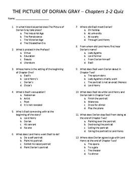 The Picture of Dorian Gray Quizzes & Final Exam - Chapters ...