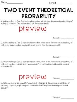 Theoretical Probability Worksheet By Hunka Learnin Love