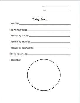 Today I Feel Worksheet By Jordan Coleman