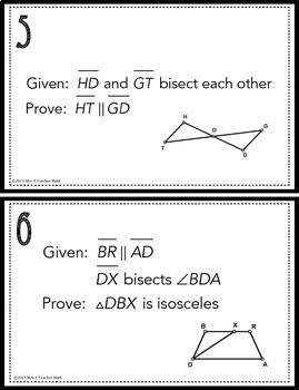 Congruent Triangles Proofs Task Cards By Mrs E Teaches
