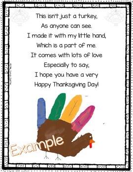 Turkey Handprint Poem For Thanksgiving By Sarah Griffin TpT