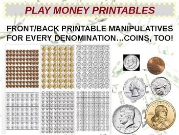 US Currency PLAY MONEY PRINTABLE MANIPULATIVES ALL COINS AND BILLS