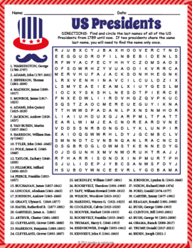 All U.S. Presidents Word Search Puzzle by Puzzles to Print ...