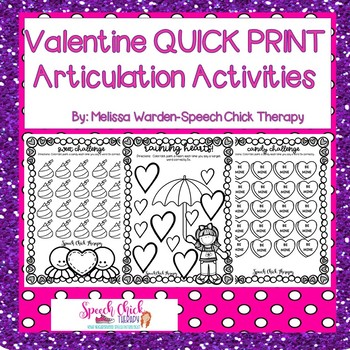 Valentine Quick Print Articulation Activities