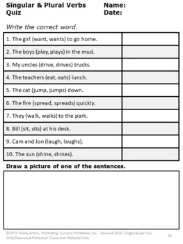 Singular And Plural Verbs Task Cards Verb Worksheets