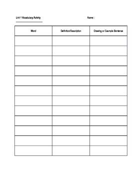 Vocab Worksheet Template By Pruitt S Corner