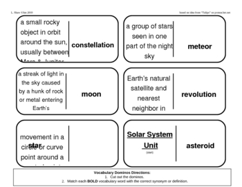 Vocabulary Dominoes - Solar System Unit by PurplePanda | TpT