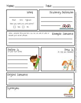Vocabulary Worksheet Hoja De Vocabulario English