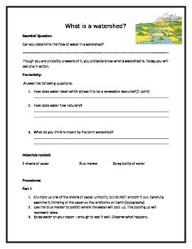 What Is A Watershed Hands On Activity By Merey