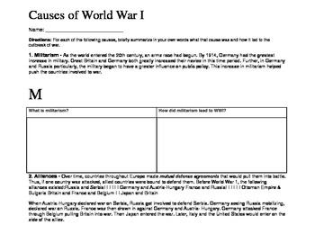 World War I Main Causes Of War By Amy Cheresnowsky