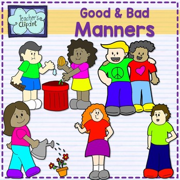 Good and bad manners multicultural kids clip art by