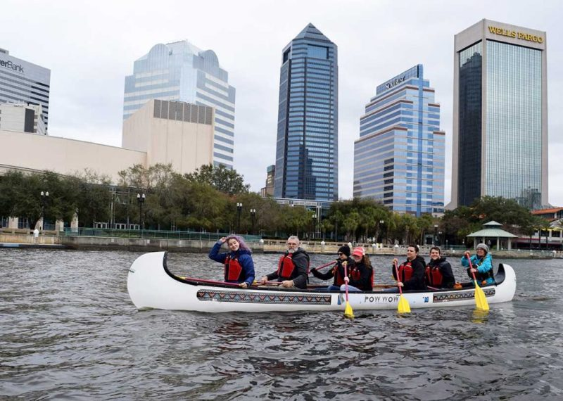Students paddling in downtown Jacksonville