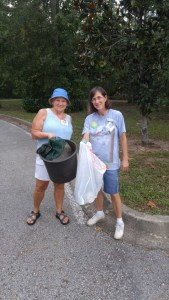 Participants picking up trash
