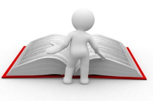 3d little human read an open book