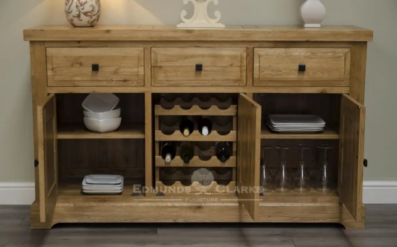 Deluxe Rustic Solid Oak large sideboard with three drawers three doors wine rack inside middle cupboards DLXLSB