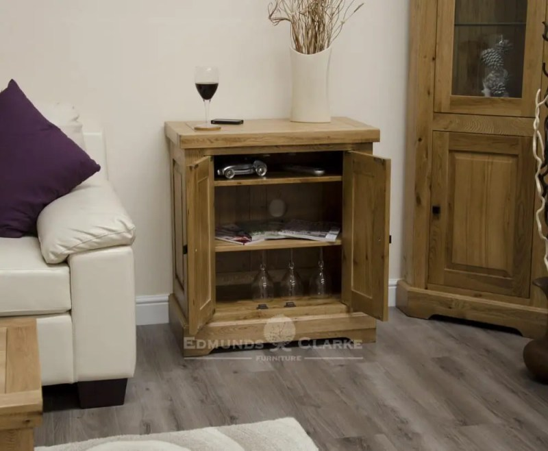 Melford Solid Oak Printer occasional cupboard with two adjustable shelves and a choice of handle options DLXTVC