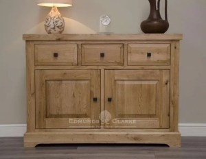 Melford solid oak medium sideboard. Deluxe Rustic Melford solid oak medium sideboard with three drawers two doors oak shelves inside cupboards DLXLMSB