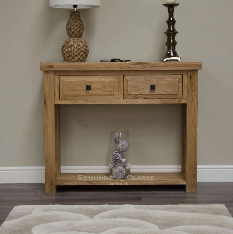 Melford solid oak hall table. deluxe chunky rustic solid oak console table with two drawers with choice of knobs and bottom shelf for extra storage DLXHT