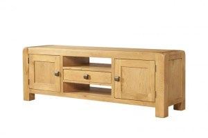 Oak Wide TV unit with cupboards & drawer Contemporary and Quirky Waxed Oak with smooth edges. Wide TV Unit with 2 doors, 1 centre drawer and 2 shelf with square rustic knobs DAV016