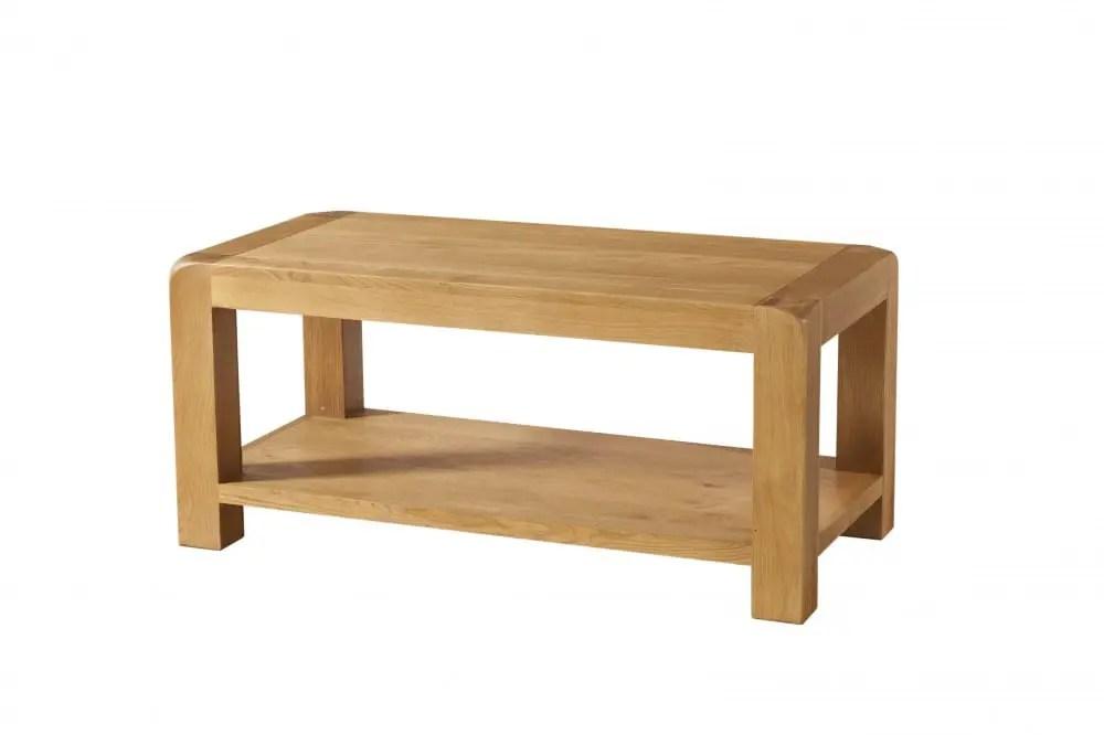 avon oak coffee table with shelf