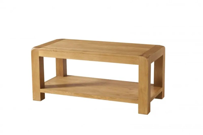 Avon Oak coffee table with shelf. Contemporary and Quirky Waxed Oak with smooth edges. coffee table with shelf at bottom. DAV13