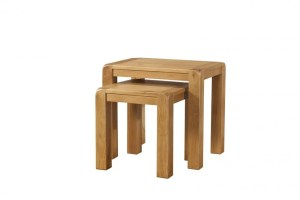 Avon waxed oak nest of two tables. Contemporary and Quirky Waxed Oak with smooth edges. Nest of Two tables DAV014