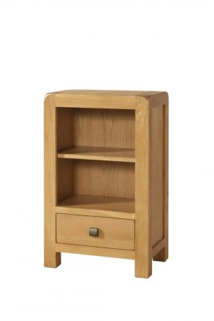 Avon oak low 1 drawer bookcase Contemporary and Quirky Waxed Oak with smooth edges. square rustic knobs . DAV019