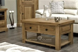 deluxe chunky rustic solid oak 3 x 2 coffee table with two drawer that can be pulled out from either side choice of knobs DLX3X2CT