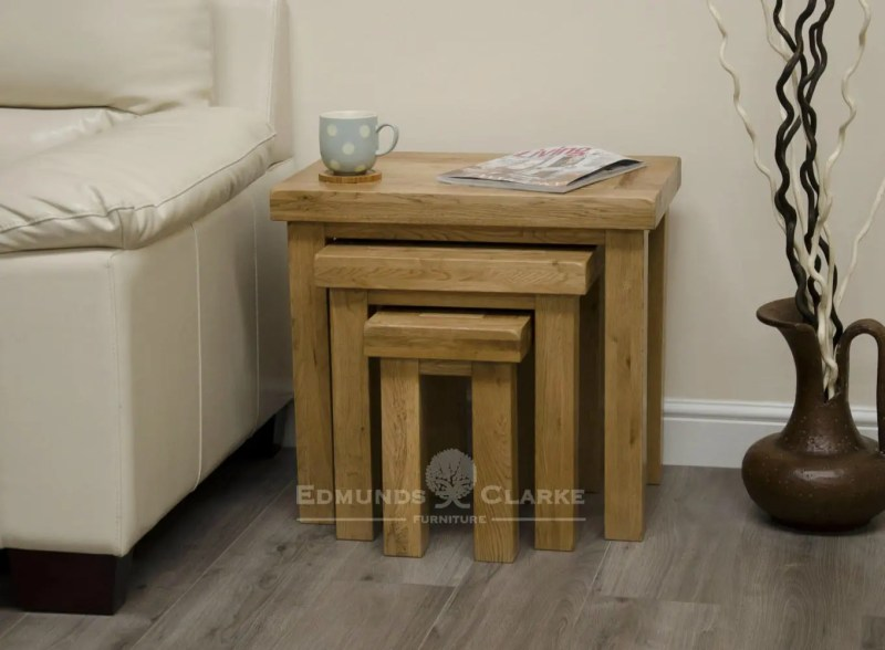 deluxe chunky rustic solid oak nest of three tables DLXNST