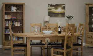Melford Solid Oak Oval Extending Dining Table, rustic oak, seats 4-8 comfortable, Chunky legs DLXOVAL