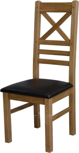 Melford Solid Oak New Cross Back Chair, brown leather pad, light oak lacquer finish DLXNEWCROSSBK