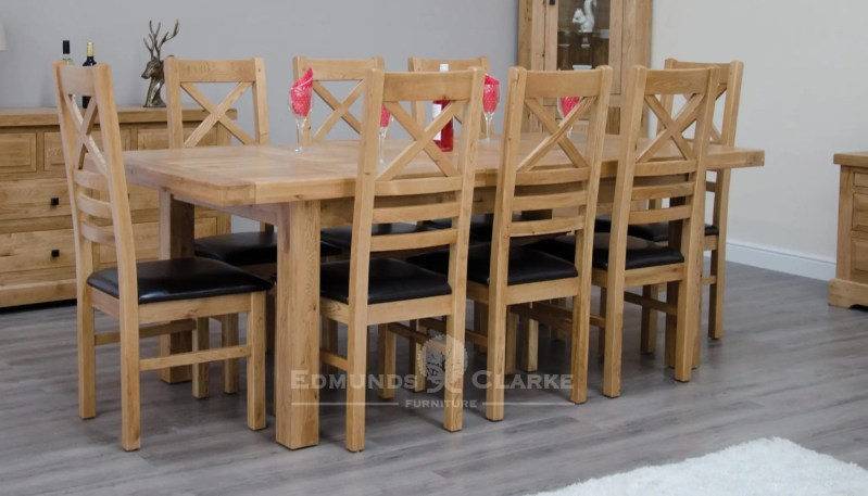 Melford Solid Oak Large Extending Dining Table 180cm chunky, two leaves that store underneath will sit 6 to 10 people comfortably DLX1800EXT